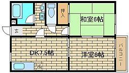 兵庫県神戸市須磨区禅昌寺町1丁目の賃貸アパートの間取り