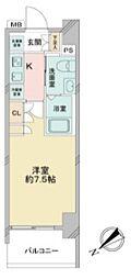 アゼストお花茶屋II 9階1Kの間取り
