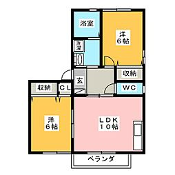 愛知県豊橋市清須町字高見の賃貸マンションの間取り