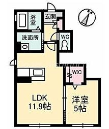 JR宇野線 妹尾駅 徒歩24分の賃貸アパート 1階1LDKの間取り