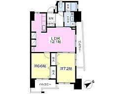 グランエスパシオ浅野 9階2LDKの間取り