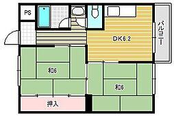 角谷マンション[3階]の間取り
