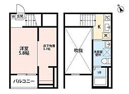 愛知県名古屋市南区内田橋1丁目の賃貸アパートの間取り