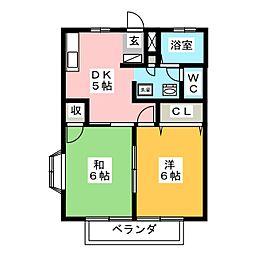 プチロジェ野沢A[2階]の間取り
