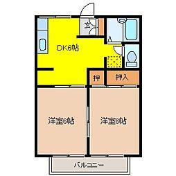 エクセルハイツテヅカB[2階]の間取り