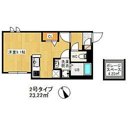 福岡市地下鉄箱崎線 千代県庁口駅 徒歩1分の賃貸アパート 1階ワンルームの間取り