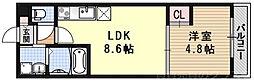 サクシード伏見駅前 2階1LDKの間取り