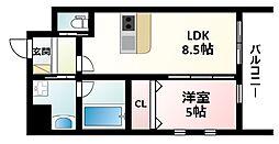 Osaka Metro御堂筋線 江坂駅 徒歩12分の賃貸マンション 2階1LDKの間取り