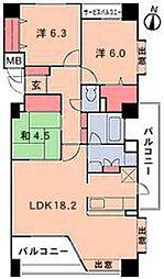 ラフィーヌ牛田本町 3階3LDKの間取り
