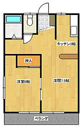 JR高崎線 北本駅 徒歩15分の賃貸アパート 1階1LDKの間取り