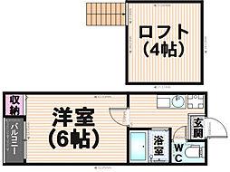 福岡県福岡市博多区竹下2丁目の賃貸アパートの間取り