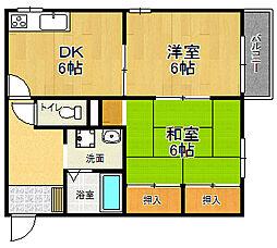 兵庫県宝塚市南ひばりガ丘2丁目の賃貸アパートの間取り