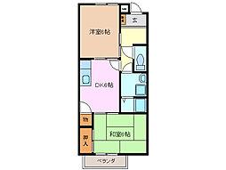 三重県四日市市西富田3丁目の賃貸アパートの間取り