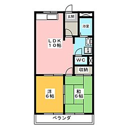 明豊ハイツA棟[2階]の間取り