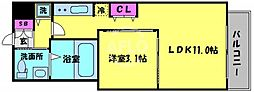 ロッカベラアパートメント 2階1LDKの間取り