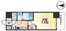 エステムコート名古屋グロース 7階1Kの間取り