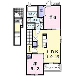 高松琴平電気鉄道長尾線 池戸駅 徒歩8分の賃貸アパート 2階2LDKの間取り