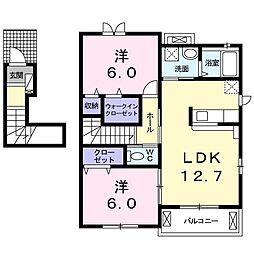長野県松本市蟻ケ崎5丁目の賃貸アパートの間取り