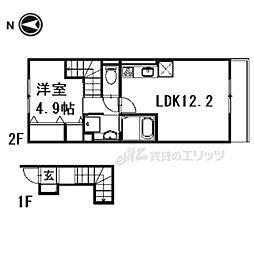 (仮称)D-room下鴨蓼倉町 2階1LDKの間取り