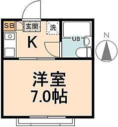 エムハウス 1階1Kの間取り