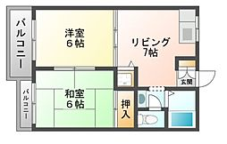 タウニ—イサカC棟[1階]の間取り