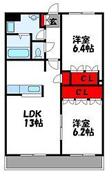 JR鹿児島本線 古賀駅 4.7kmの賃貸アパート 2階2LDKの間取り