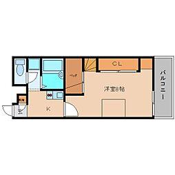 奈良県香芝市別所の賃貸アパートの間取り