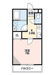 西武池袋線 秋津駅 徒歩4分の賃貸アパート 2階1Kの間取り