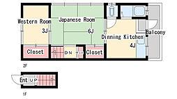 二葉町9丁目アパート[201号室]の間取り