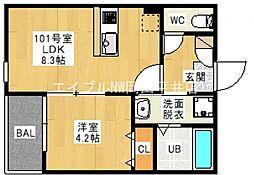 JR宇野線 備前西市駅 徒歩18分の賃貸アパート 1階1LDKの間取り