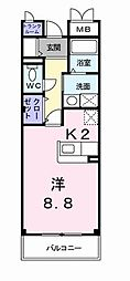 JR横浜線 十日市場駅 徒歩6分の賃貸マンション 2階1Kの間取り