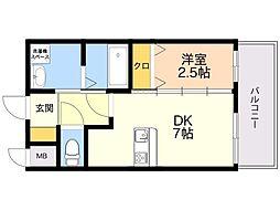 LIFEFIELD貝塚駅前 1階1DKの間取り