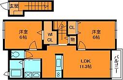 奈良県生駒郡斑鳩町龍田南4丁目の賃貸アパートの間取り