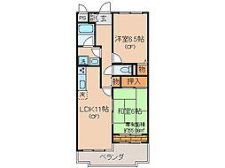 京都府宇治市五ケ庄平野の賃貸マンションの間取り