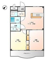 JR京浜東北・根岸線 洋光台駅 徒歩15分の賃貸マンション 4階2LDKの間取り