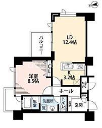 ベルファース大阪新町 12階1LDKの間取り