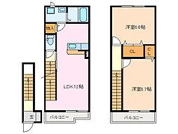 カーサ・オリージャ B[2階]の間取り