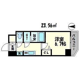 スプランディッド難波元町DUE 12階1Kの間取り
