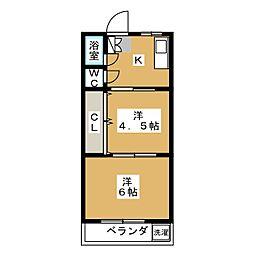 元古井マンション[2階]の間取り