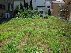 敷地北側より、地下車庫のため南側の庭先が広い