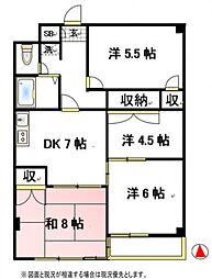 ファインクロス6番館[1階]の間取り