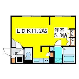 札幌市営東豊線 さっぽろ駅 徒歩6分の賃貸マンション 2階1LDKの間取り