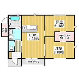 仮)みどりの東新築C 1階2LDKの間取り