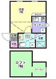 小田急小田原線 相模大野駅 バス12分 水道路下車 徒歩5分の賃貸アパート 1階1Kの間取り