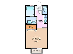 三重県鈴鹿市平田1丁目の賃貸アパートの間取り