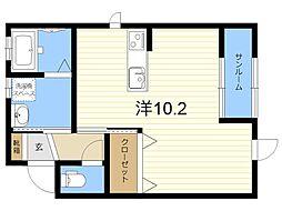 JR日豊本線 国分駅 徒歩9分の賃貸アパート 1階ワンルームの間取り