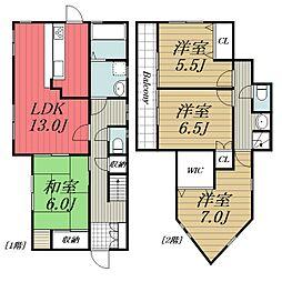 [一戸建] 千葉県成田市御所の内 の賃貸【/】の間取り