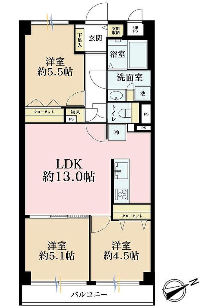 間取り(3LDK、価格4980万円、専有面積63.25m2、バルコニー面積5.5m2 )