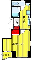 JR山手線 大塚駅 徒歩2分の賃貸マンション 2階1Kの間取り