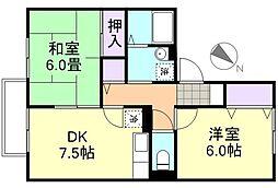 ドミール新田[1階]の間取り